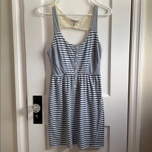 Striped Button Cutout Dress